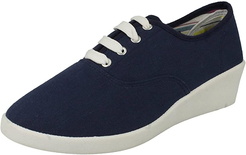 Ladies Spot On Canvas 'Wedge Shoes