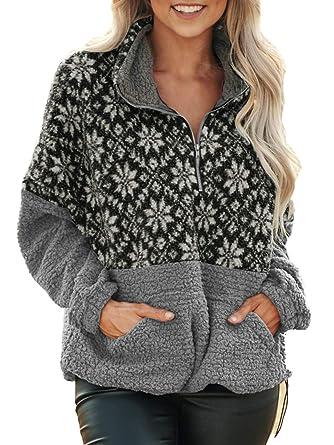 71ee8a57 Voopptaw Women's Colorblock Sweatshirt Winter Long Sleeve Quarter ...