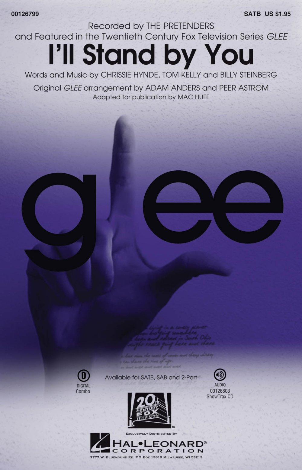 hal leonard ill stand by you satb by glee cast tv series arranged by mac huff