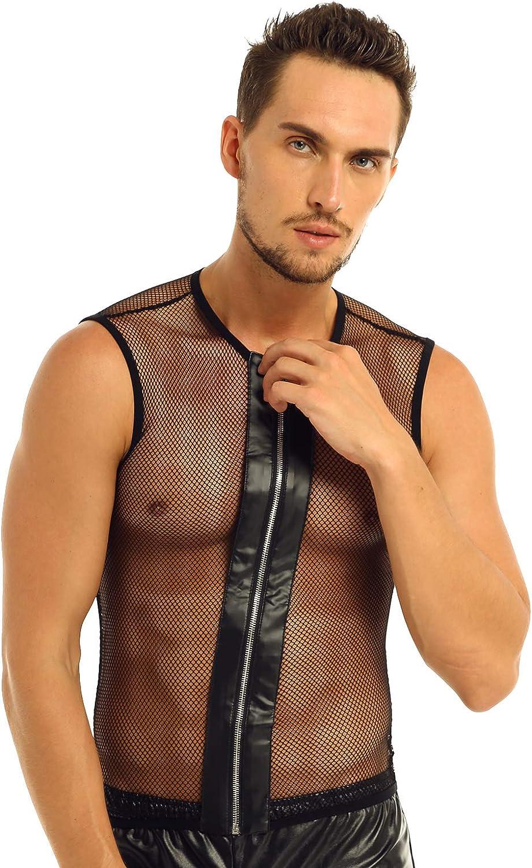 iEFiEL Mens Sleeveless Fishnet See-Through Zipper Muscle Tank Top T-Shirt Clubwear