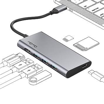 QacQoc Hub USB C, 7 En 1 Adaptador USB C a HDMI con Puerto HDMI 4K, 3 Puertos USB 3.0, Lector de Tarjeta (SD y Micro SD), Puerto de Carga Tipo C para ...
