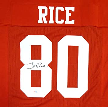 1f745e49fbc SAN FRANCISCO 49ERS JERRY RICE AUTOGRAPHED RED JERSEY PSA/DNA STOCK #112658