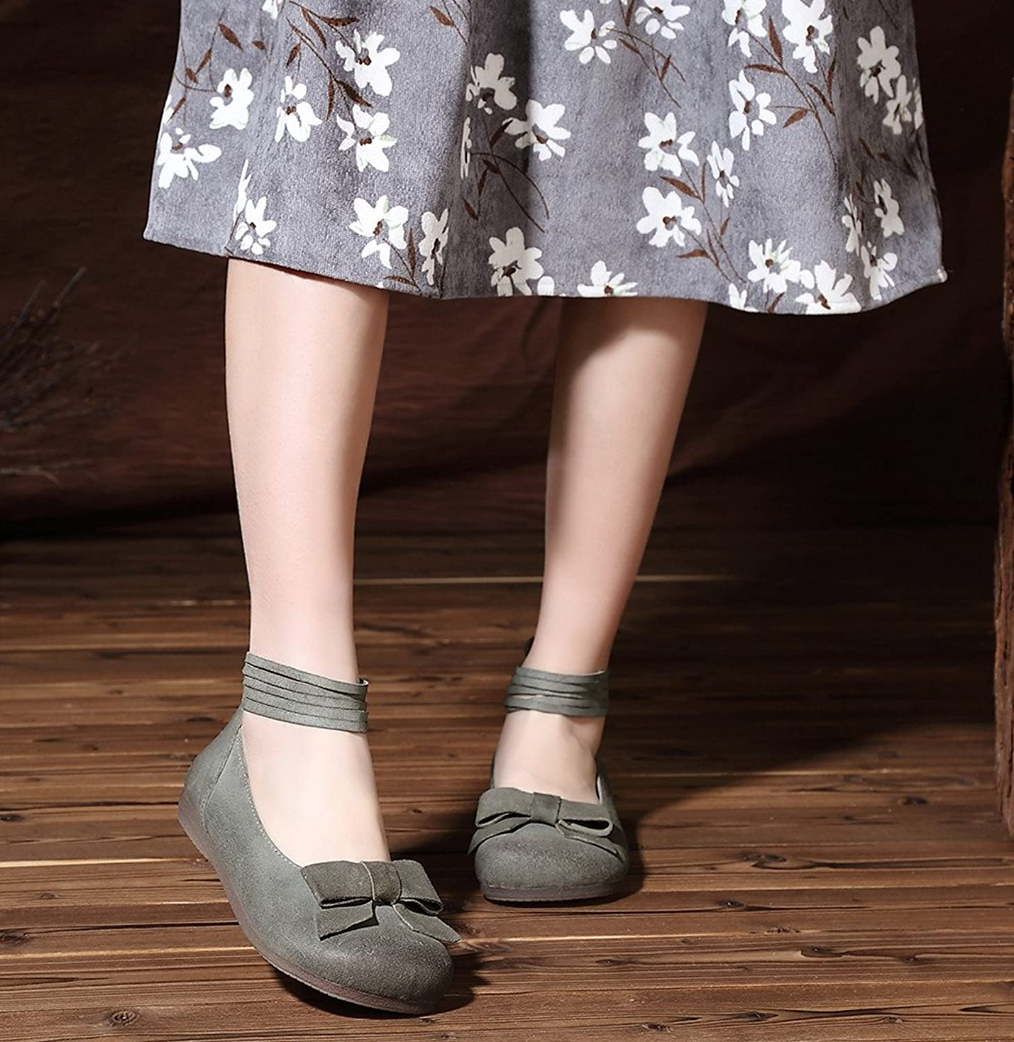 2017 New Handmade Retro Leather Strappy Flats For Women Vintage Rope With Bow Soft Sole