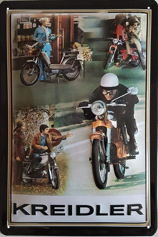 Kreidler Florett Moped Motorrad Geprägtes Retro Blechschild Werbeschild Türschild Wandschild 30 X 20 Cm Küche Haushalt