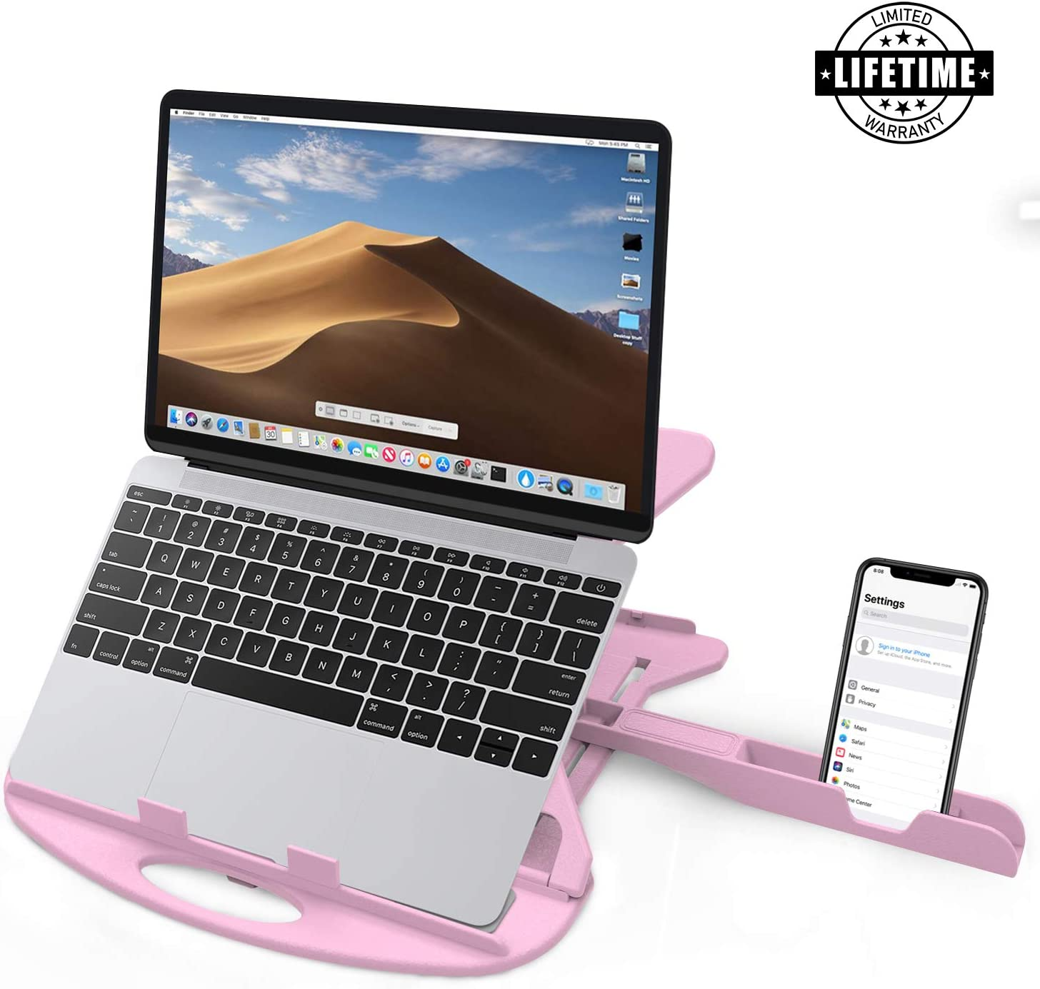 Carnation Laptop Stand Desk with Phone Stand and Cable Clip. Adjustable, Foldable & Portable Riser. Fully Compatible MacBook Base Holder. Enjoy!