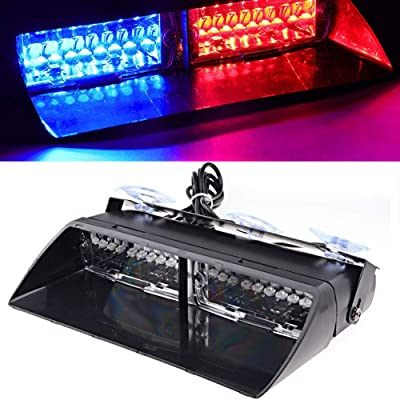 LED Emergency Strobe Lights Bar DIBMS 16 LED Car Truck Warning Flashing Hazard Light Windshield Light For Interior Roof Dash Windshield With Suction Cups Red Blue: Automotive