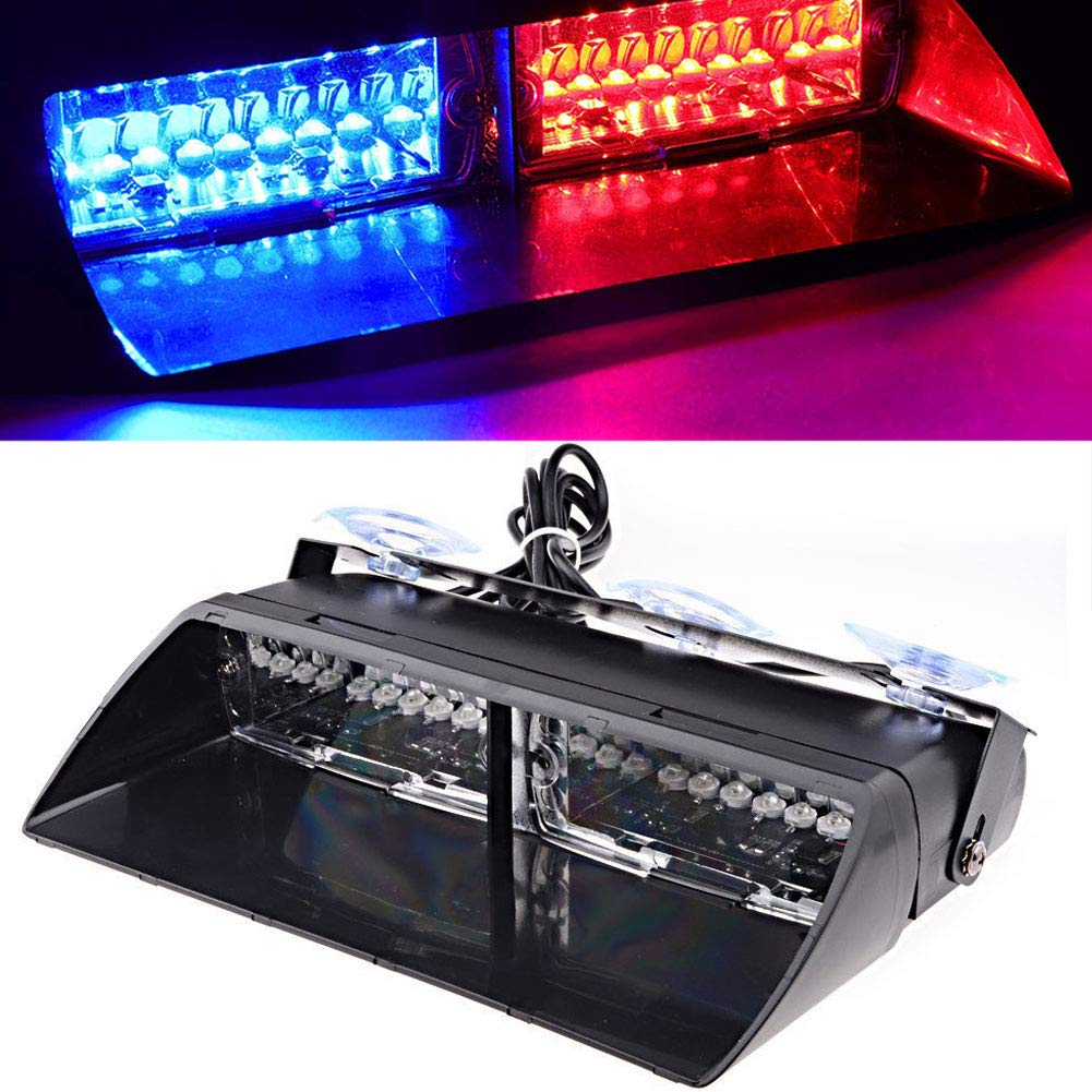 DIBMS 16 Leds Car Truck Emergency Strobe Flash Flashing Dashboard Interior Windshield Warning Light Red