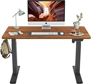 FEZIBO Height Adjustable Electric Standing Desk, 40 x 24 Inches Stand Up Table, Sit Stand Home Office Desk with Splice Board, Black Frame/Espresso Top
