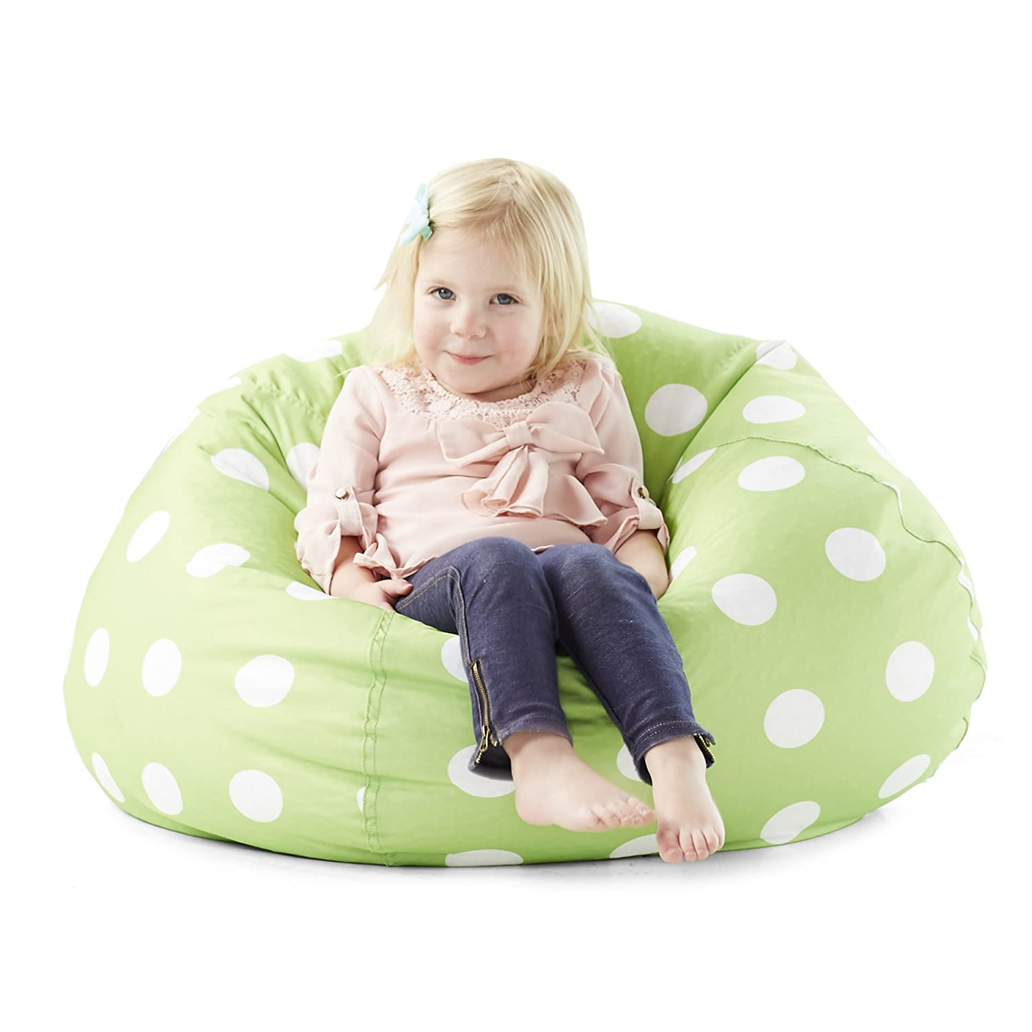 Lavendar with White Comfort Research Big Joe 0630252 Lavender Polka Dot Classic Bean Bag Chair