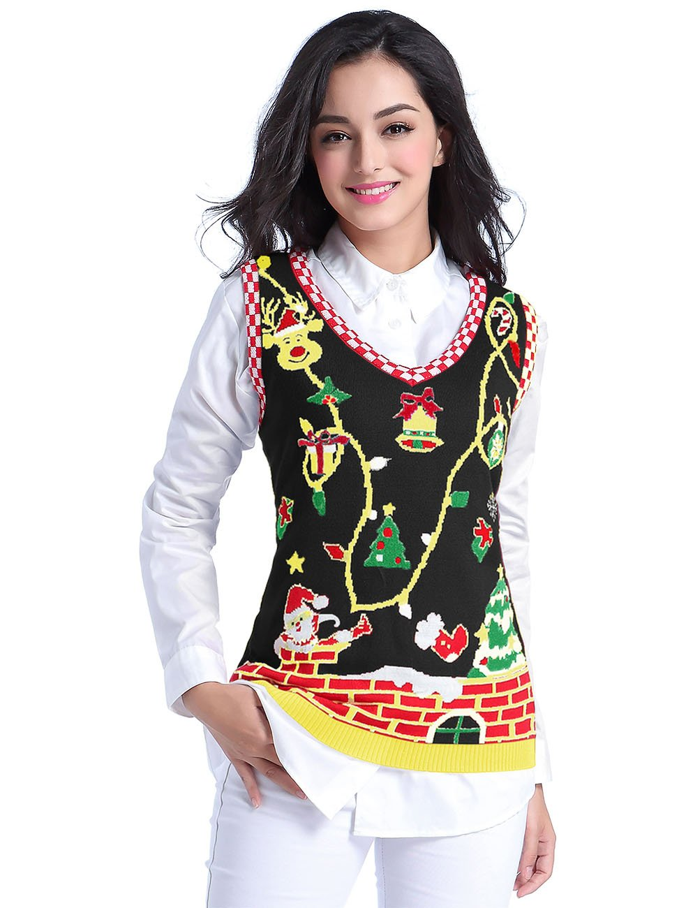 v28 Ugly Christmas Sweater, Women Girl Cute Vintage Knit Xmas Pulli Sweater Vest (M, Black)