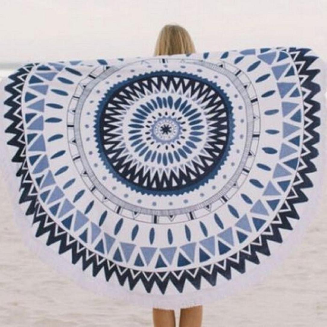 Internet - Tapiz, toalla de playa, mantel o estera de yoga, redondo, con diseño estampado de mandala, estilo bohemio hippy, algodón, negro-azul, ...