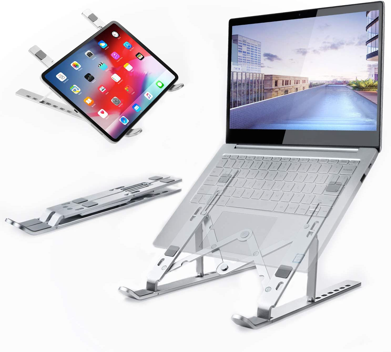 Laptop Stand Portable, Atokit Adjustable Aluminum Laptop Tablet Stand Ergonomic Foldable Notebook Stand Computer Holder Stand Compatible with MacBook Air Pro, Dell HP Lenovo Asus Laptops More 9-15.6""