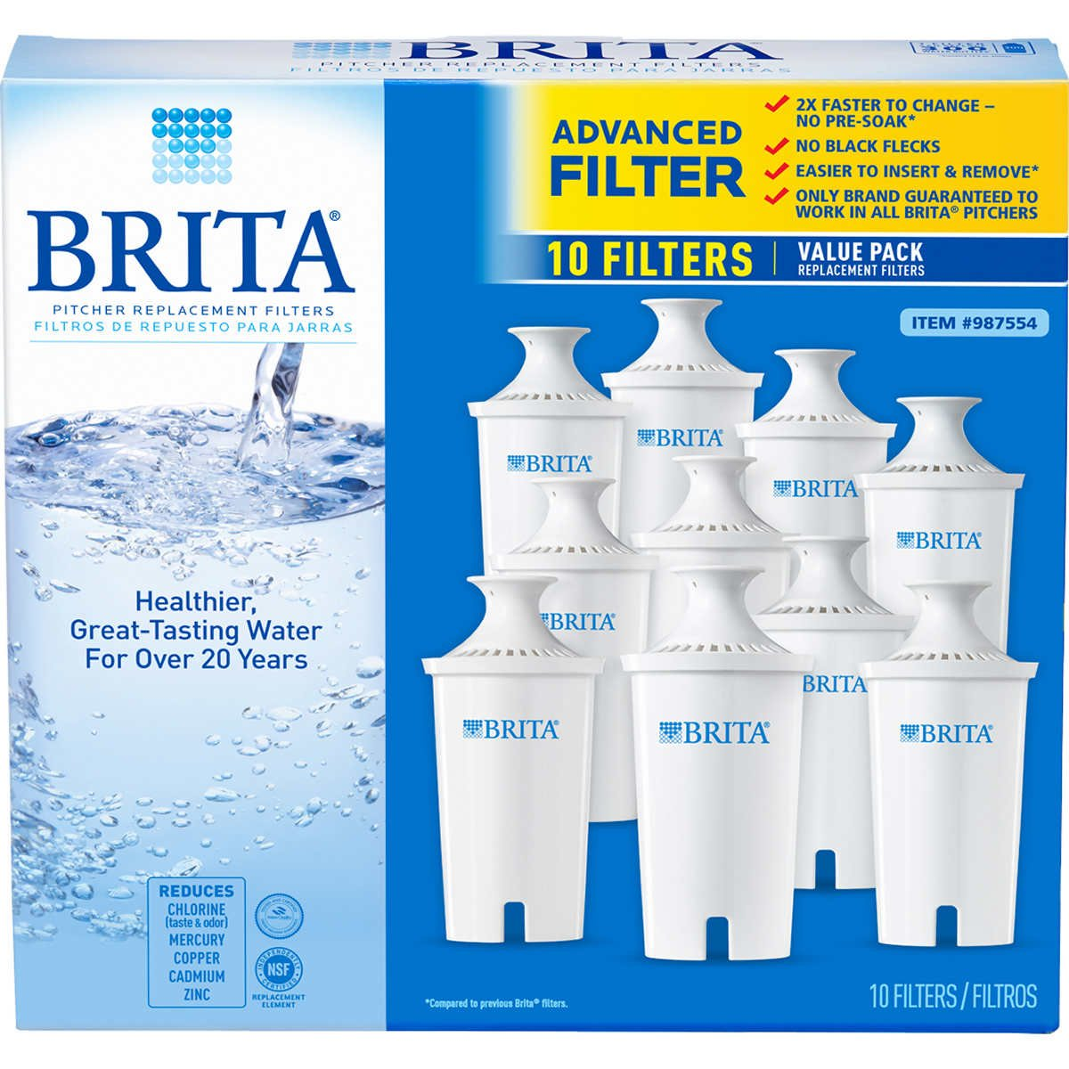 10-Pack 42609 Brita 987554 Pitcher Replacement Filters