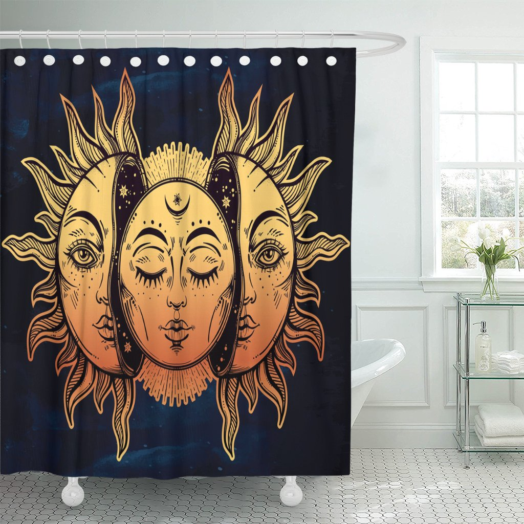 Cortina de ducha de tela con ganchos, hermosa luna y sol con caras ...