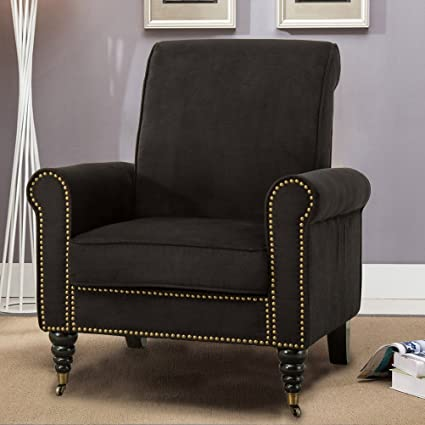 Exceptionnel Tongli Upholstered Accent Chair Suede With Nailheads Trim Chair For Living  Room Club Black