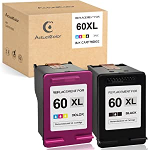 ActualColor C Remanufactured Ink Cartridge Replacement for HP 60XL 60 XL CC641WN CC644WN for Photosmart C4680 C4780 Envy 100 110 120 Deskjet D2680 D1660 F2430 F4210 F4480 F4280 F4580Printer (2-Pack)