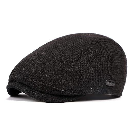 LANLEO Men s Newsboy Hat Cotton Gatsby Flat Ivy Driving Golf Cap Black ddca7fc8bb3b