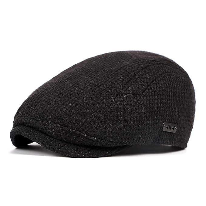 LANLEO Men s Newsboy Hat Cotton Gatsby Flat Ivy Driving Golf Cap Black b8a026b51b5