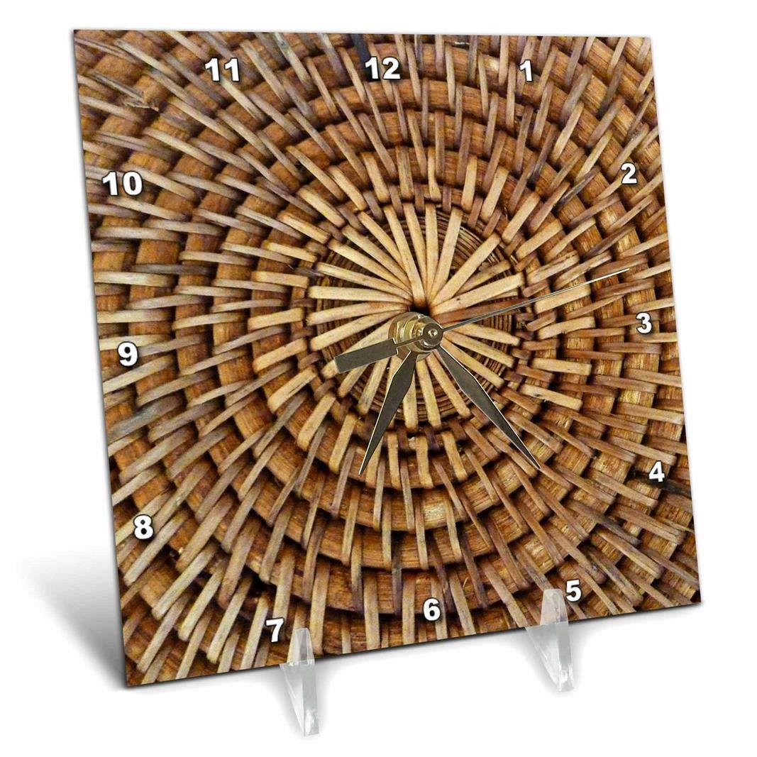 6 by 6 3dRose dc/_31102/_1 Circle Me Wicker Desk Clock