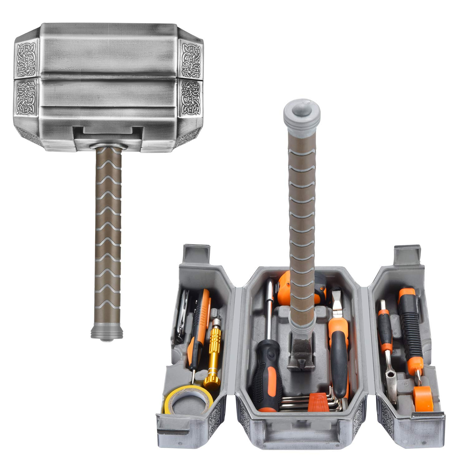 Buyton Avengers Thor Hammer Tool Set,28-Piece Household Hand Tool Kit -Thor Battle Hammer,Durable, Long Lasting Chrome Finish Tools with Thor Hammer case by buyton (Image #1)