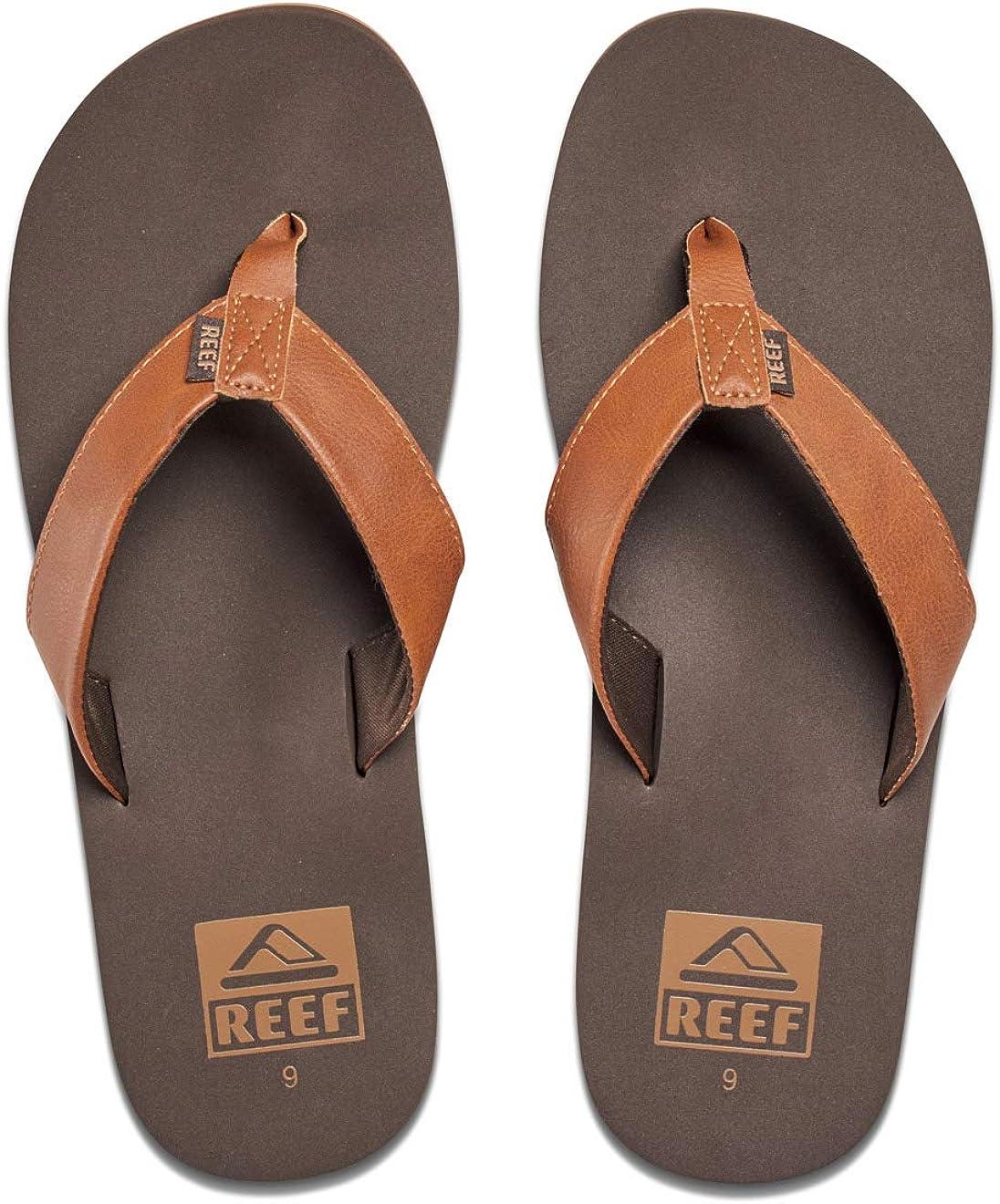 Reef Men's Sandal Twinpin | Comfortable Men's Flip Flop With Vegan Leather Upper, Grey, 7