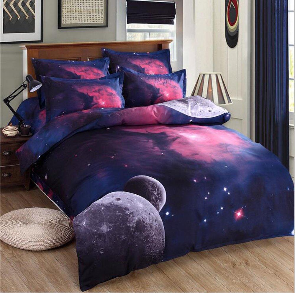 Nattey Star Galaxy Bedding Set Duvet Cover Set Teen Kids Gift (Full, C)