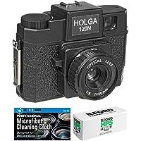 Holga 120N Medium Format Film Camera (Black) with Ilford HP5 120 Film Bundle and Microfiber Cloth