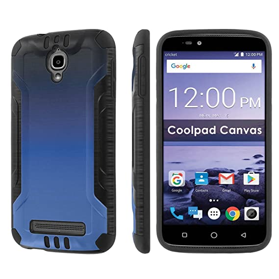 finest selection 335f1 00763 [Nakedshield] Phone Case For Coolpad Canvas 3636A [Black/Black] Dual Layer  Protection - [Gradient Blue] Print Design