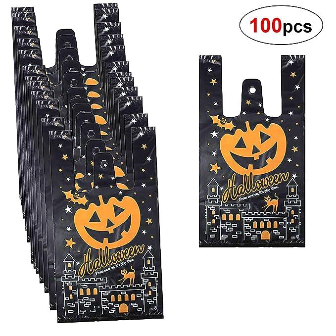 Howaf 150 Piezas Halloween Bolsas Regalo Cumpleaños para Niños con asas, Halloween bolsas para chuches, Bolsas Plástico Regalo Dulces para Frutos ...