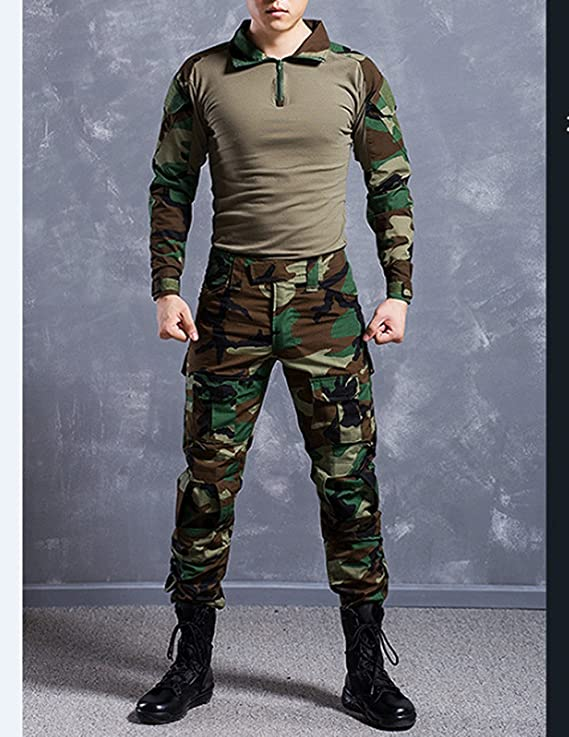 Juego de chaqueta y pantalones comando, diseño de camuflaje y estilo uniforme militar: Amazon.es: Deportes y aire libre