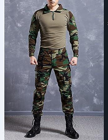 NoGa Tarnkleidungsset bestehend aus Jacke und Hose, mit Camouflage Muster, Militär Stil, weich, atmungsaktiv, verschleißfest