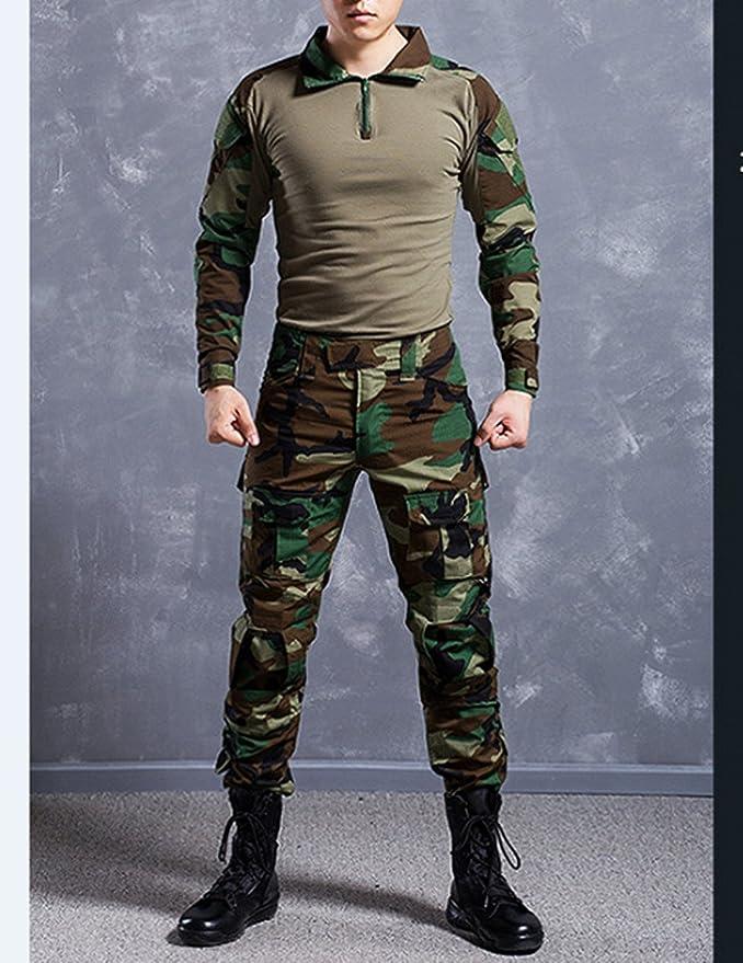 Juego de chaqueta y pantalones comando, diseño de camuflaje y estilo uniforme militar