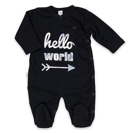 Pelele Pijama Unisex Negro Plata Hello World Talla:9 Monate (74)