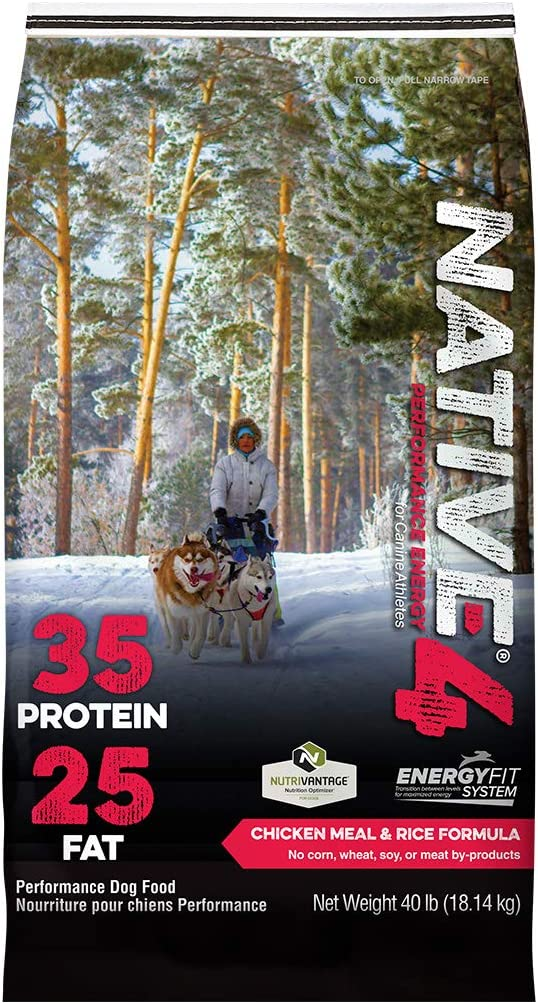 NATIVE Performance Dog Food Level 4 35:25 Chicken Meal and Rice Formula, 40-Pound