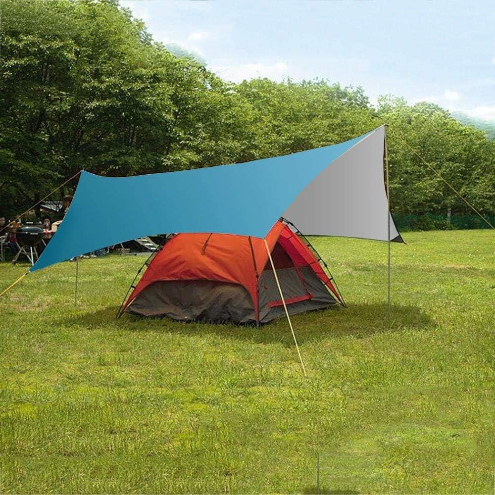 Imperm/éable Tarp de Hamac L/éger B/âche de Protection de Soleil pour Picnic Camping en Plein Air Bleu//Vert GROOFOO Camping B/âche Anti-Pluie 3 x 3M // 3 x 4.45M Backpacking