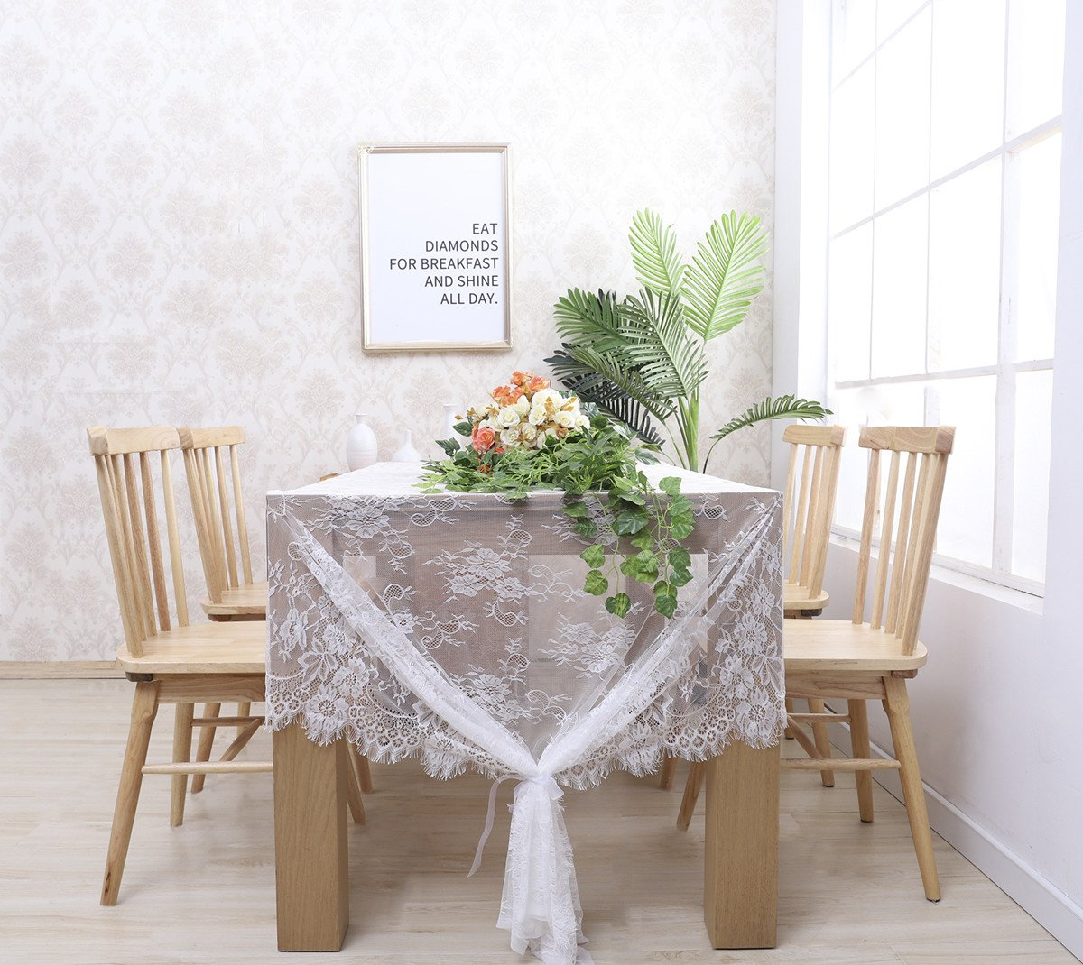 """B-COOL 60"""" X120"""" Classic White Wedding Lace Tablecloth Lace Tablecloth Overlay Vintage Embroidered Lace Overlay for Rustic Wedding Vintage Reception Decor Spring Summer Outdoor Party Boho Party Decor - Top Material: soft touch High Quality LACE both Comfortable and Durable. Beautiful Design: flower intricate lace design vintage embroidered lace fabric adds extra elegance to your wedding Chic£¦Romantic: vintage white LACE Table Cloth, classic and pretty, best choice for Rustic wedding, romantic candlelight dinner, bridal shower, baby shower, birthday party or everyday use! - tablecloths, kitchen-dining-room-table-linens, kitchen-dining-room - 71UZPFvcWNL -"""