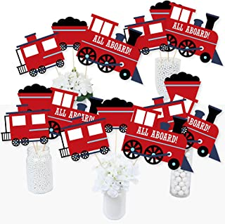 product image for Railroad Party Crossing - Steam Train Birthday Party or Baby Shower Centerpiece Sticks - Table Toppers - Set of 15