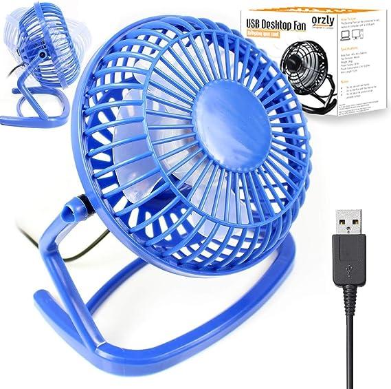 Amazon Com Usb Fan Mini 4 Inch Orzly 1x Blue 360 Rotation Light