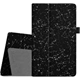 Fintie Folio Case for All-New Amazon Fire HD 8 Tablet (7th Generation, 2017 Release) - Slim Fit Premium Vegan Leather Standing Protective Cover with Auto Wake/Sleep, Constellation