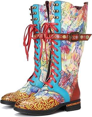 Camfosy Bottes Hautes Cuir Femmes Lacets, Chaussures de Ville Hiver Cavalière Rangers en Cuir Bottines de Neige Plates à Talons Plats Confortable pour