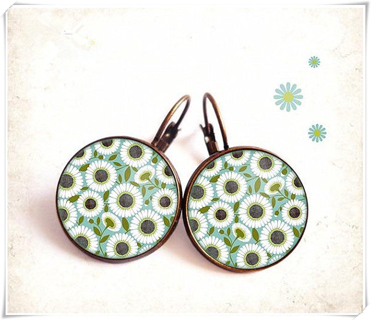 Pendientes con cabujón de Elf House • margaritas • negro blanco azul verde jardín flores