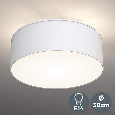 Lámpara de techo moderna con pantalla textil Ø 30cm, Lampara LED con 2 llamas, Luz de techo de tela E27, Pantalla de Algodón blanco