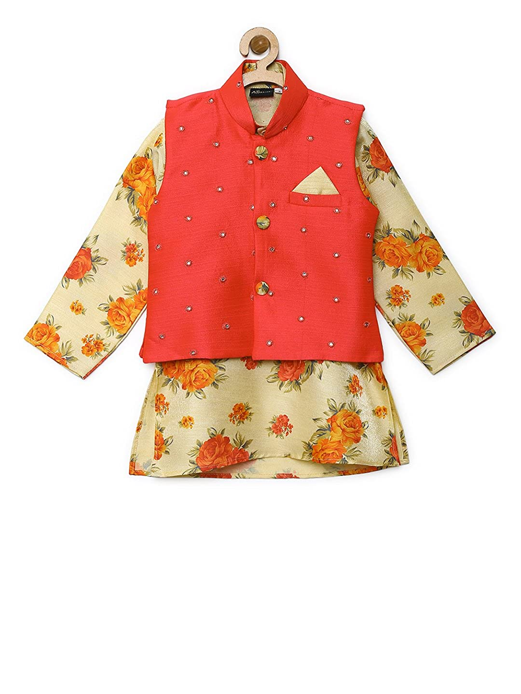 019c3ef2bf Amazon.com: AJ Dezines Kids Indian Wear Bollywood Style Kurta Pyjama  Waistcoat for Boys (638-GAJRI-8): Clothing