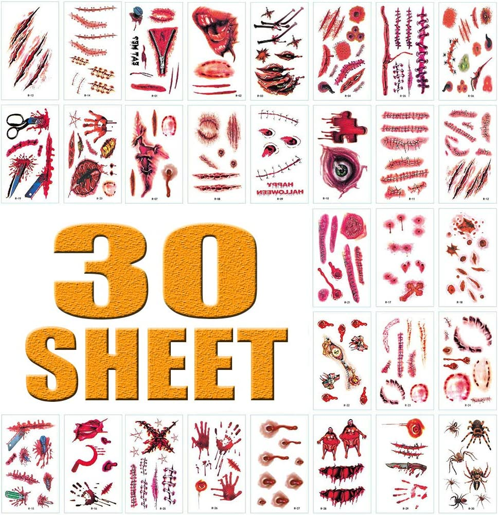 Halloween Zombie Scar Tattoo Sticker 30 Sheets Waterproof Temporary Realistic Fake Bloody Wound Tattoos for Halloween Vampire Makeup Cosplay and Masquerade Party