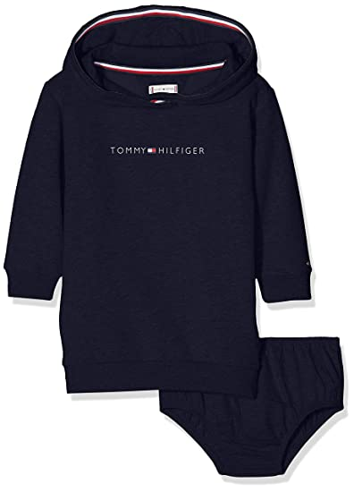 a911616a406 Tommy Hilfiger Girl's Essential Tommy Hoodie Dress Ls, Blue (Black Iris  002),