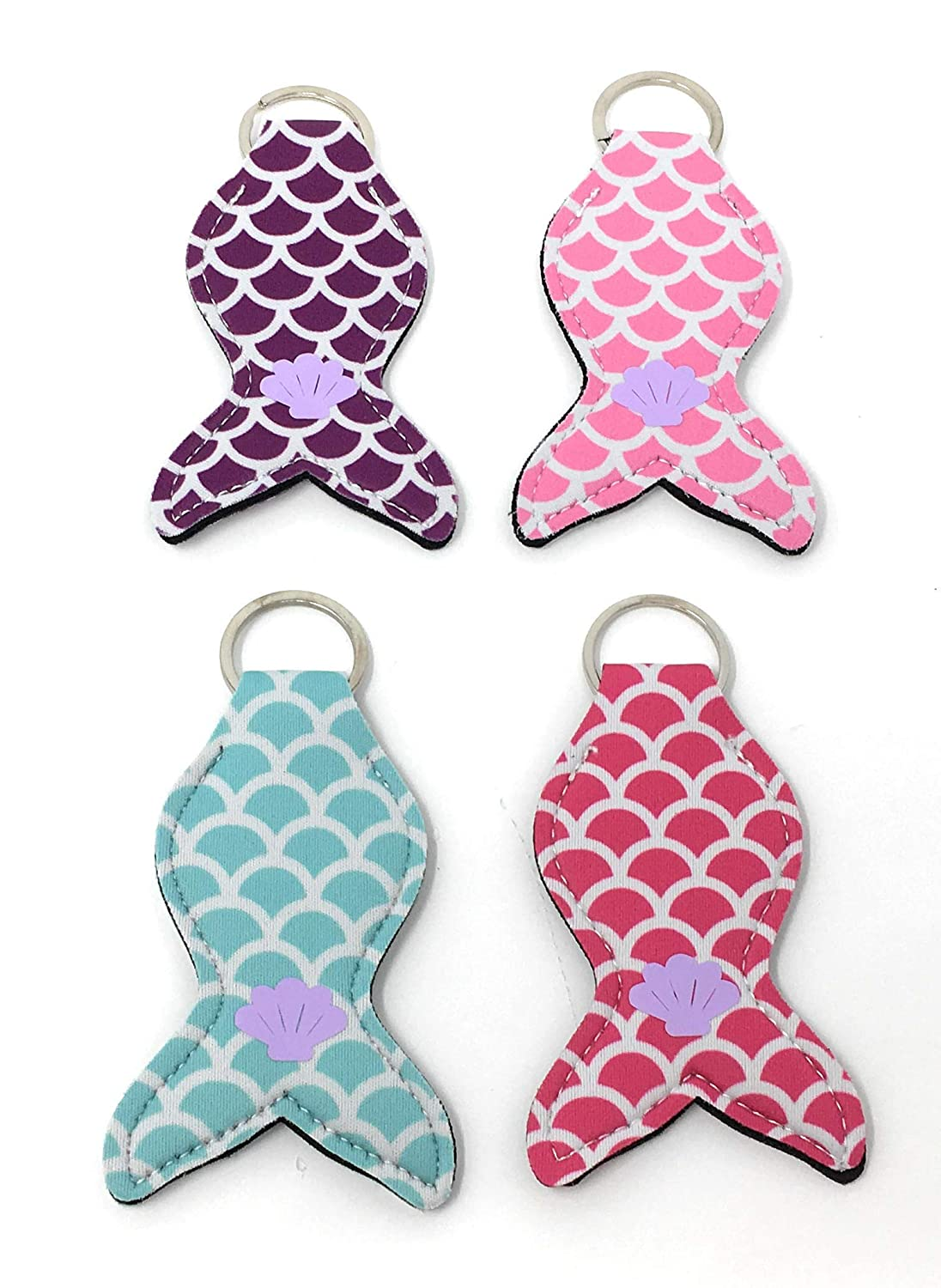 Pink Mermaid No Tail Chapstick Holder Party favor Neoprene Keychain Wholesale