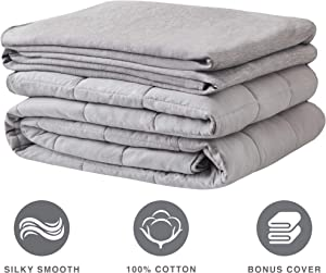 Weighted Blanket 100% Cotton Cooling Cover Advanced Nano-Ceramic Beads Deliver Durability & Silky Comfort (Grey 25LBS 80x87)