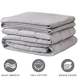 Weighted Blanket 100% Cotton Cooling Cover Advanced Nano-Ceramic Beads Deliver Durability & Silky Comfort (Grey/Grey 6LBS 36x48)