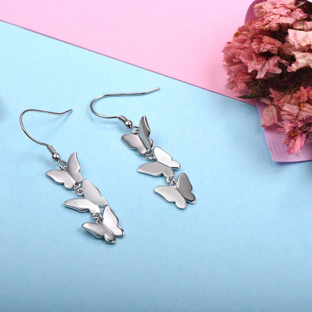 Silver Dangling Earrings 925 Sterling Silver Butterfly Drop Earrings Fish-hook Backfinding by SILVERCUTE (Image #4)