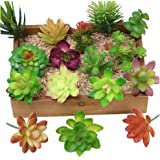 Kalolary 16 Pcs Artificial Succulent Flowers Plants Mini Unpotted Decor Stems Mixed Fake Succulents Plants Bulk